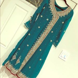 Pakistani teal formal wear outfit